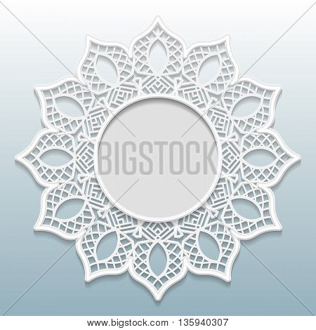 3D Vector bas-relief frame vignette with ornaments lace frame festive pattern white pattern template greetings