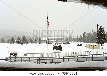 Headquarters Yellowstone National park mid winter snowing