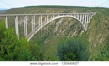 The Bloukrans Bridge is the highest bridge in Africa, road bridge with a bungee jumping platform, the Bloukrans River flows through the deep gorge in the Indian Ocean, landscape along the Garden Route in South Africa,
