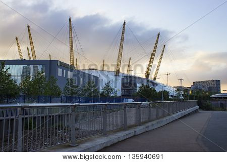 London England - June 13 2016: View of the O2 Arena right during sun rise before it opens its doors.