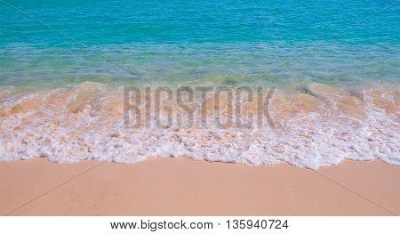 Beautiful surf wave on tropical sandy beach