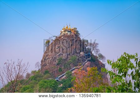 Mount Popa Temple incredible monastery perched on the top of cliff Myanmar Southeast Asia