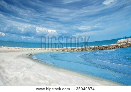 the seashore of Cote d'Azur of France on a sunny day