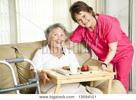 Friendly nurse brings a mean to an elderly shut-in.  Could also be lunch time at the nursing home.