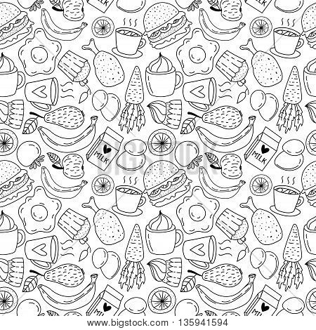 Hand drawn breakfast food and icons doodle set. School lunch menu. Vector illustration. Seamless pattern