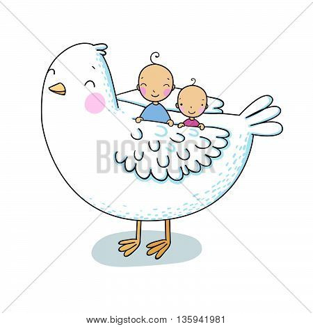 Two cute baby and a bird. Hand drawing isolated objects on white background. Vector illustration. Coloring book.
