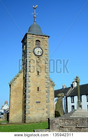 A view of the medieval tolbooth tower in Clackmannan