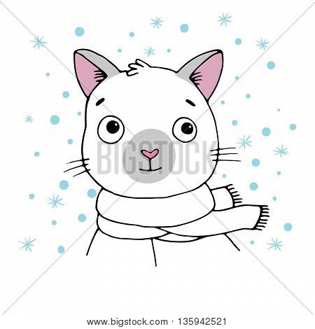 Portrait of a Siamese cat. Winter. Hand drawing isolated objects on white background. Vector illustration.