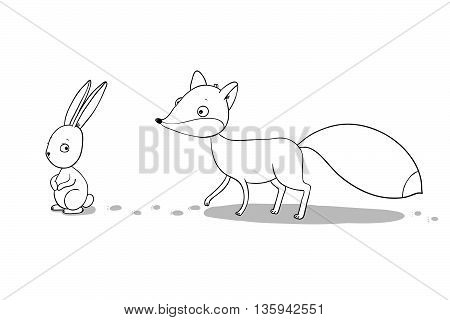 The fox and the hare. Winter. Hand drawing isolated objects on white background. Vector illustration.