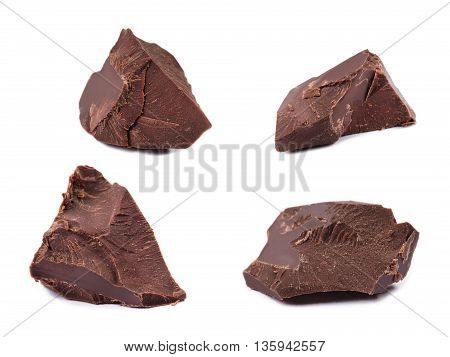 Close up Chocolate pieces isolated on white background