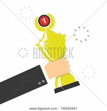 Hand holding winners trophy award. Vector illustration.