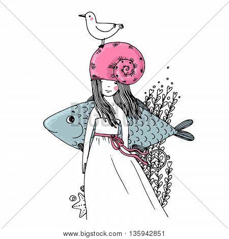 Girl, fish, seagulls, seaweed, starfish and a ring Hand drawn vector