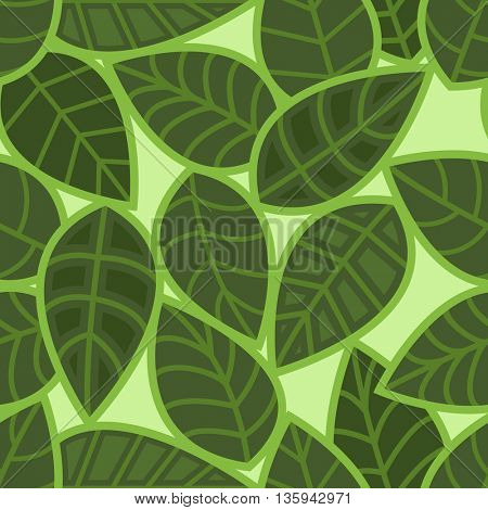 Abstract seamless green leaves vector pattern.
