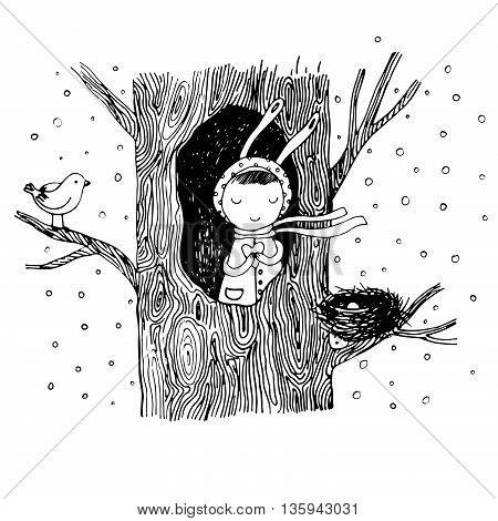 The story about a bunny, tree, hollow, nest, bird and heart. Hand drawn vector illustration.