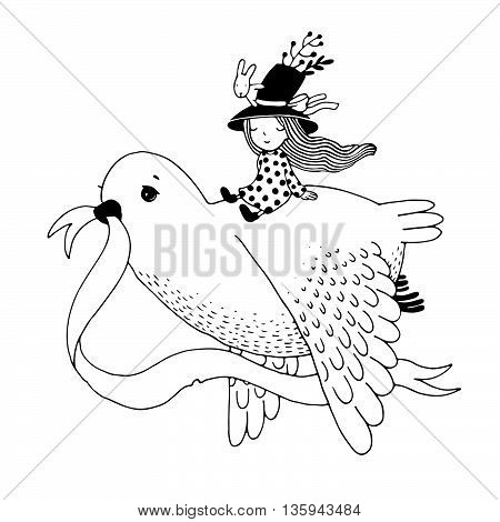 The story of the dove, fairy girl, rabbit and a hat. Hand drawn vector.