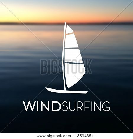 Vector illustration of windsurfing board on the blurred sea background. Windsurfing icon. Wind surfing icon flat.