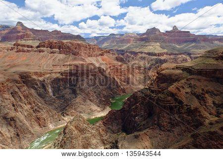 The Grand Canyon of The Colorado River on a Sunny Day. Grand Canyon National Park, South Rim, Arizona, USA