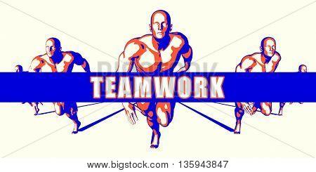 Teamwork as a Competition Concept Illustration Art 3d Illustration Render