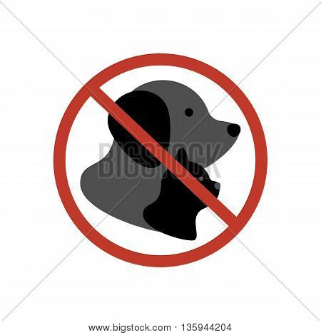 Cat and dog no entry on the white background. Vector illustration