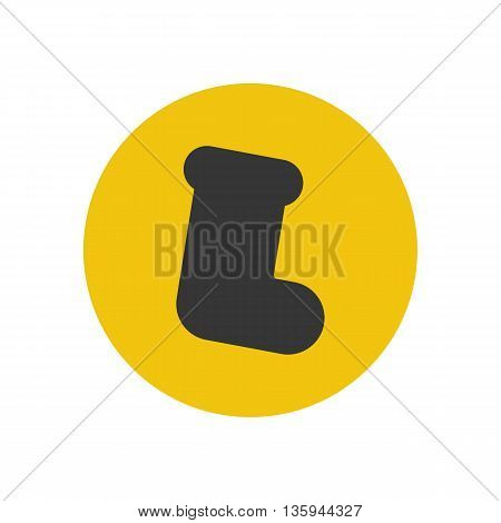 Christmas stocking silhouette on the yellow background. Vector illustration