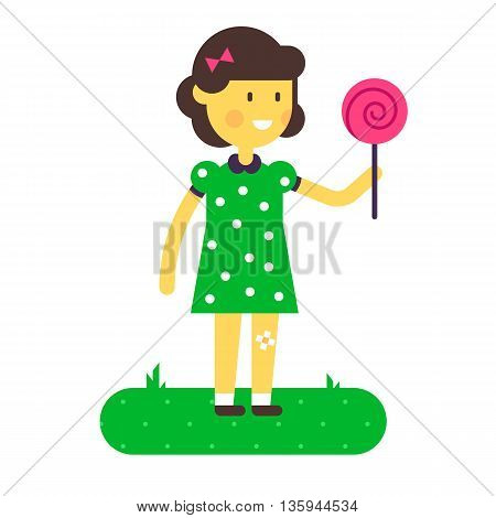 Vector illustration of little girl with lollipop. Flat design. Sweet cartoon. Very easy to recolor or edit illustration. Good for children arts.