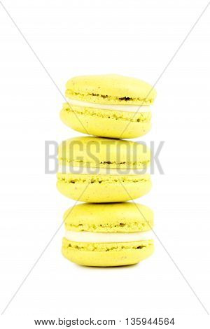 French Yellow Macarons Isolated On A White