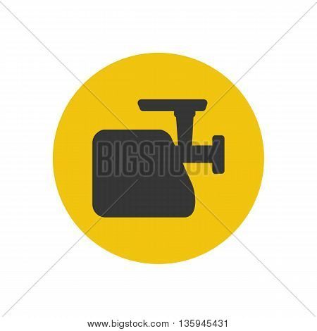 Meat grinder silhouette on the yellow background. Vector illustration