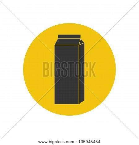 Milk pack icon on the yellow background. Vector illustration