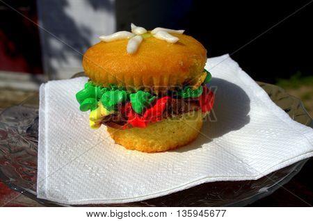Pretend Hamburger (cupcake decorated to look like a hamburger)