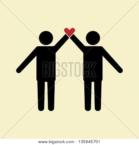 Friendship icon people stranding together with heart