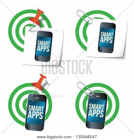 Four targets and smart phone with the words smart apps