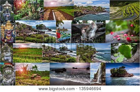 Collage of photos from Bali. Indonesia - travel background