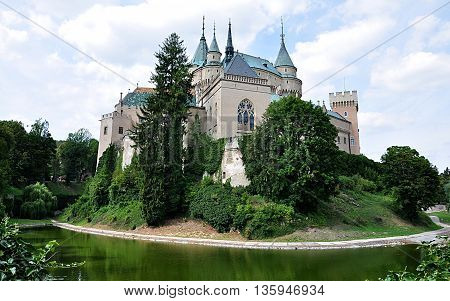 Bojnice castle and park in the summer, Slovakia, Europe