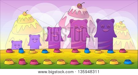 Cartoon fairy tale landscape. Candy land illustration for game design.size 1024x512