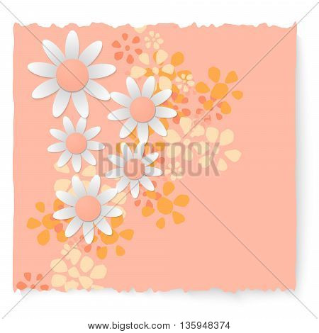 Colored slip of paper and different flowers