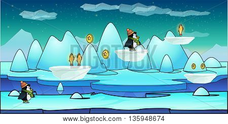 Mountain seamless background illustration for mobile app, web, game with snow and ice. .