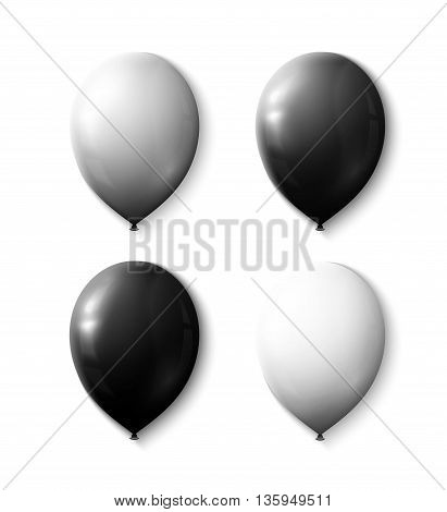 Set realistic color air balloons isolated on white background. Realistic balls with transparency for decor. Festive scenery