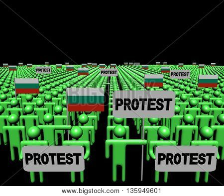 Crowd of people with protest signs and Bulgarian flags 3d illustration