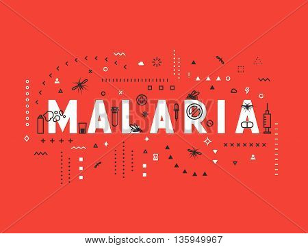 Design concept epidemic of malaria. Modern line style illustration. Concepts of words malaria, style thin line art, design banners for website and mobile website. Easy to edit.