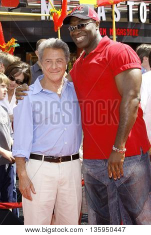 Dustin Hoffman and Michael Clarke Duncan at the Los Angeles premiere of 'Kung Fu Panda' held at the Grauman's Chinese Theater in Hollywood, June 1, 2008.