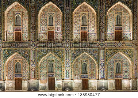 Arches, doors and windows in Registan Square, Samarkand.