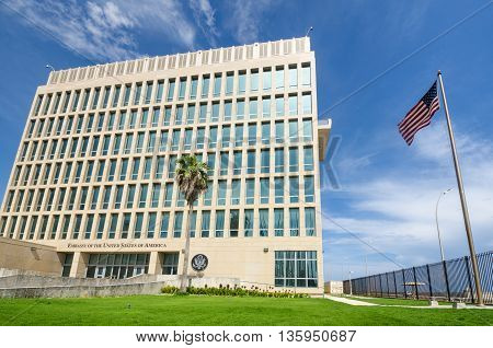 HAVANA - CUBA JUNE 20, 2016: The Embassy of the United States of America was reopened when the United States and Cuba renewed diplomatic relations on July 20, 2015.