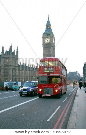 Big Ben with a London Bus in front of it