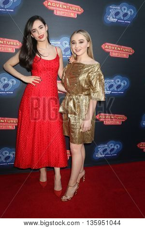 LOS ANGELES - JUN 23:  Sofia Carson, Sabrina Carpenter at the 100th DCOM Adventures In Babysitting LA Premiere Screening at the Directors Guild of America on June 23, 2016 in Los Angeles, CA