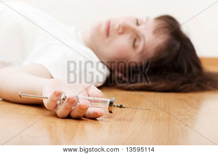 Addict Injecting Syringe