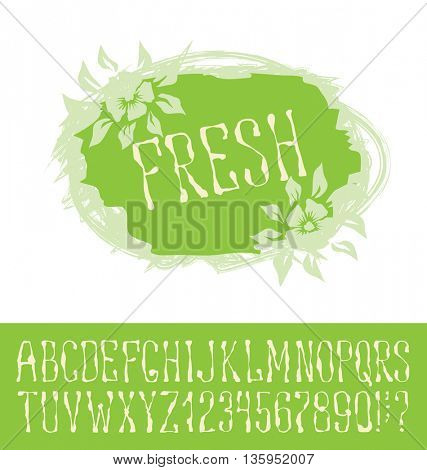 Vector logo with hand made font. With inscription Fresh