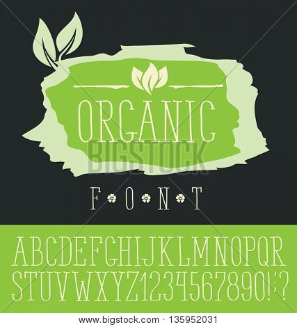 Vector logo with hand made font. With inscription Organic