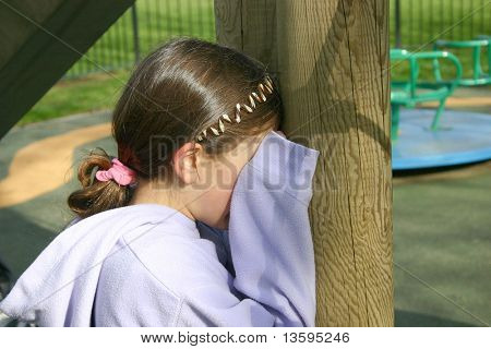 Girl counting - playing hide and seek