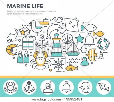 Marine life concept illustration, thin line flat design