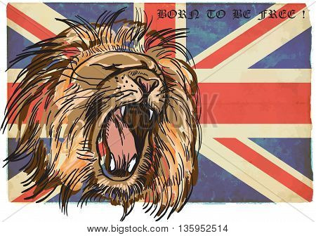 An hand drawn retro vector illustration colored line art. Freehand sketch of LION head. BRITISH LION. Vintage processing.